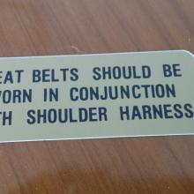 Sunvisor seat belt matrica 67/70 Shelby Gt350/500
