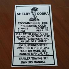 Hi-Speed gumi nyomás matrica 67/68 Shelby